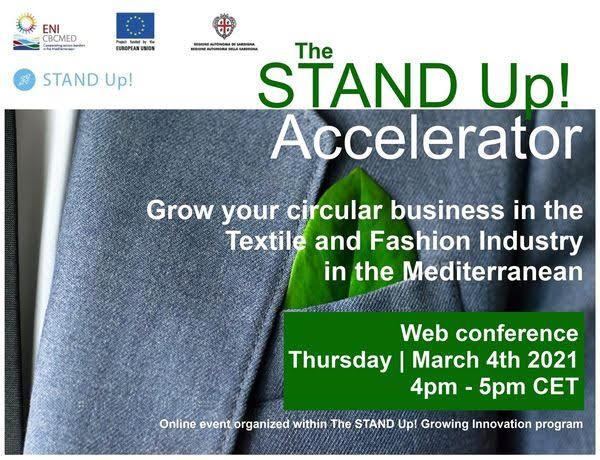 """WEBINAIRE STAND Up! Accelerator  :""""Développer votre activité circulaire dans l'industrie du textile et de l'habillement"""""""